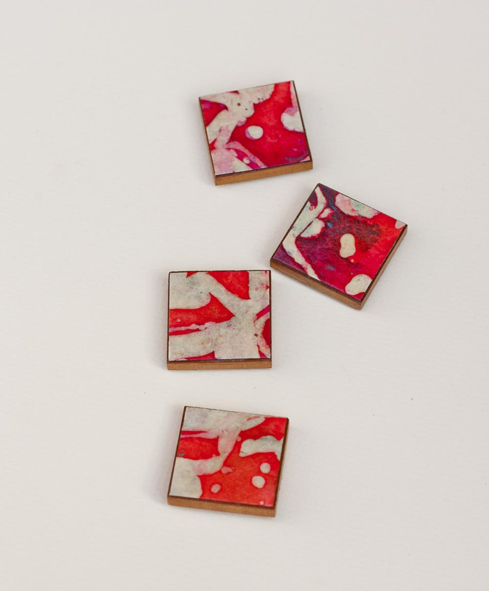 Magnets Handmade Paper Red Batik