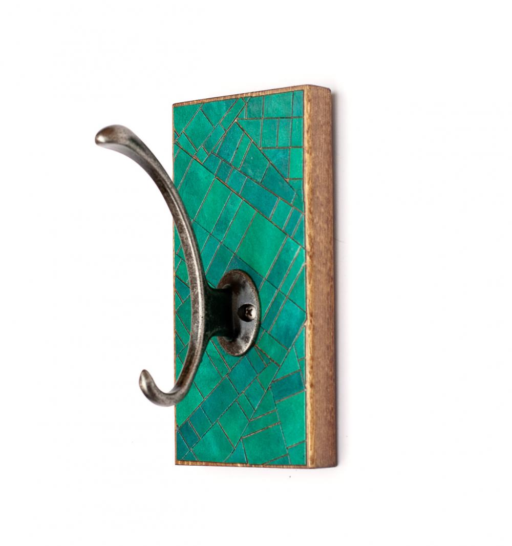 Single Wall Hook Handmade Green Paper