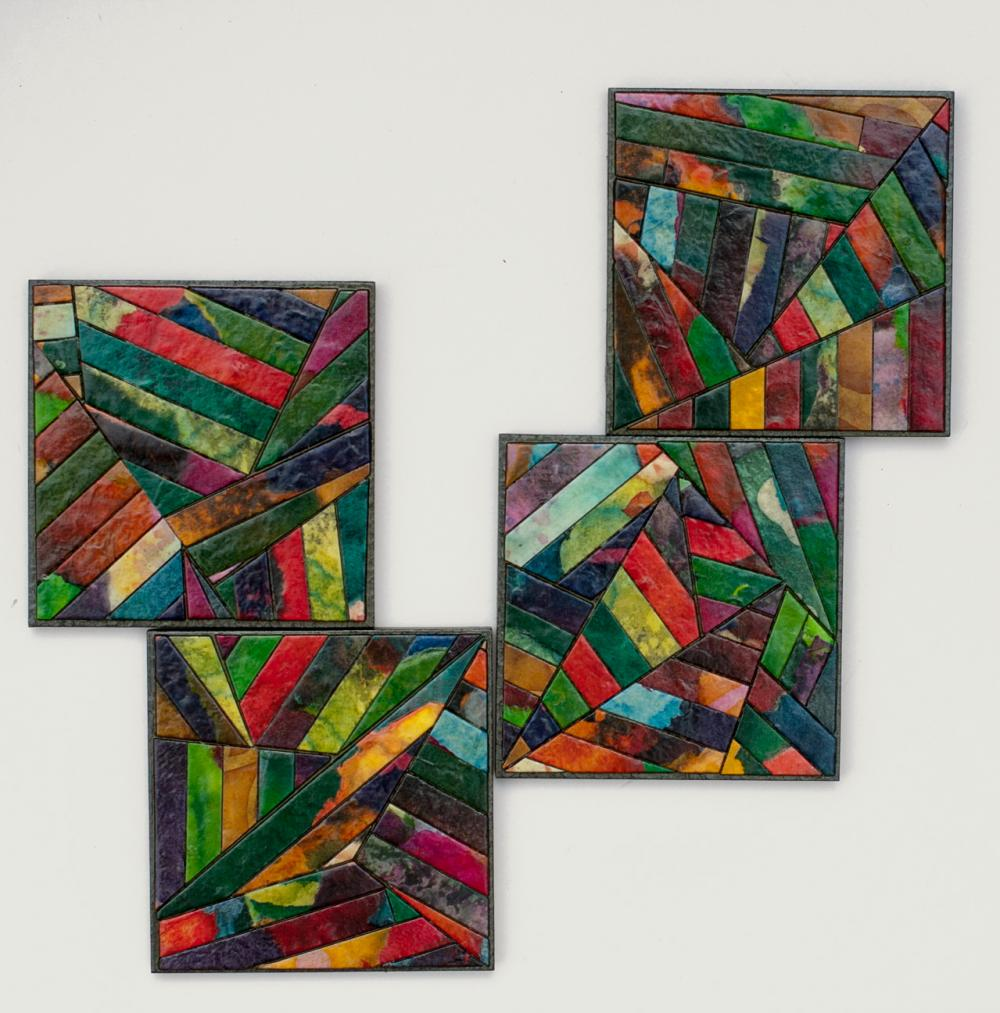 Coasters Handmade Paper Colorful Geometric Stripes