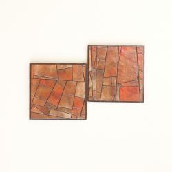 Coasters Handmade Paper Golden Stained Glass