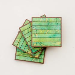 Handmade Paper Coasters Striped Green Batik
